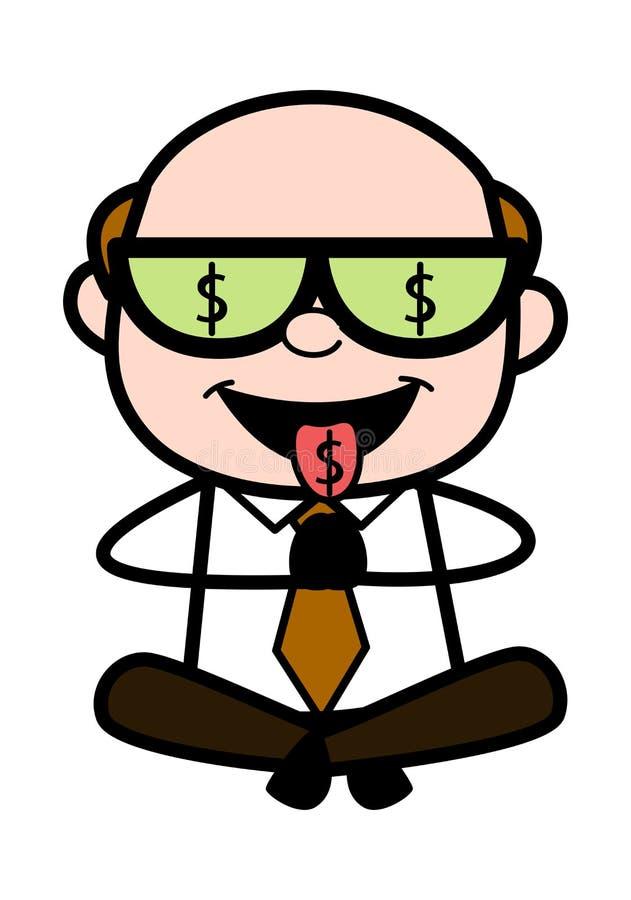 Hebzucht van Geld - Retro Beeldverhaalbureau oud Chef- Man Vector Illustration royalty-vrije illustratie