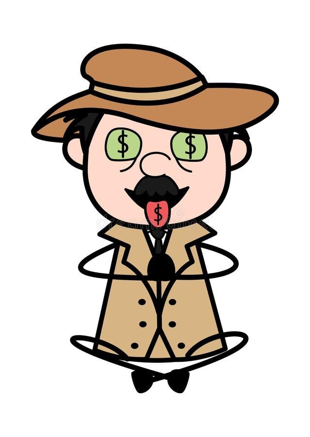 Hebzucht van Geld - Retro de Agentendetective Vector Illustration van de Beeldverhaalpolitie vector illustratie