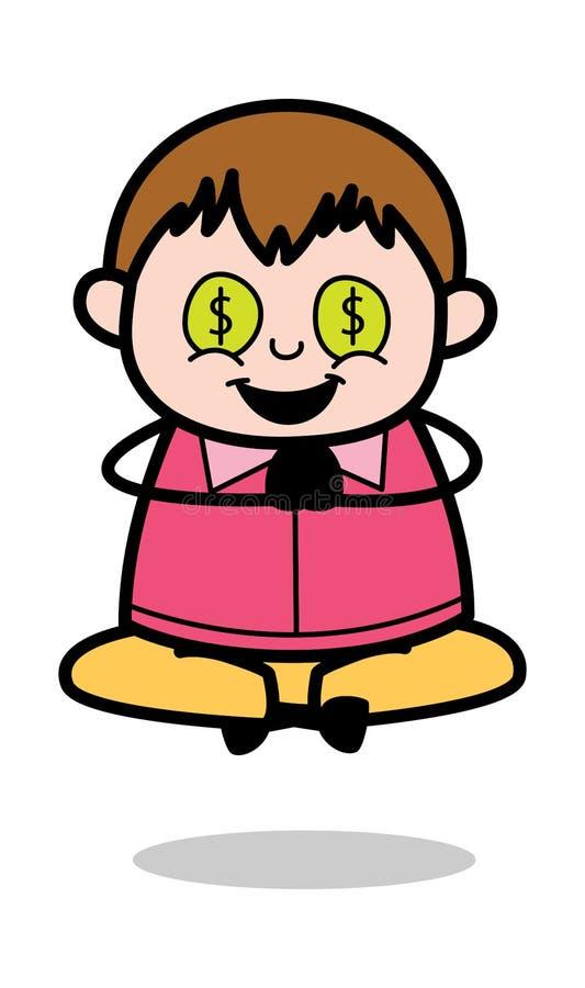 Hebzucht van Geld - Vette de Jongens Vectorillustratie van het Tienerbeeldverhaal vector illustratie