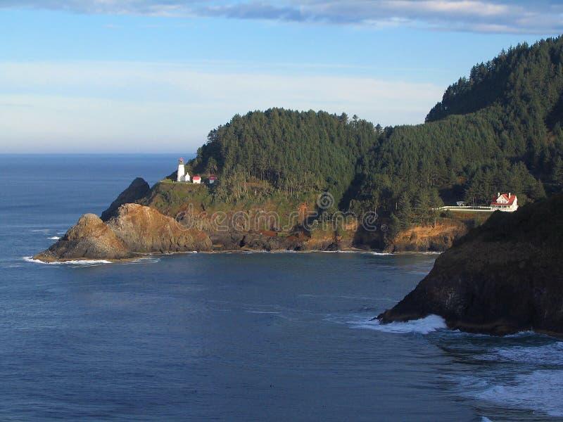 Heceta Head Lighthouse along Oregon Coast, Devils Elbow State Park, Oregon, Pacific Northwest, USA. View of Heceta Head Lighthouse and the lighthouse keeper`s royalty free stock photography