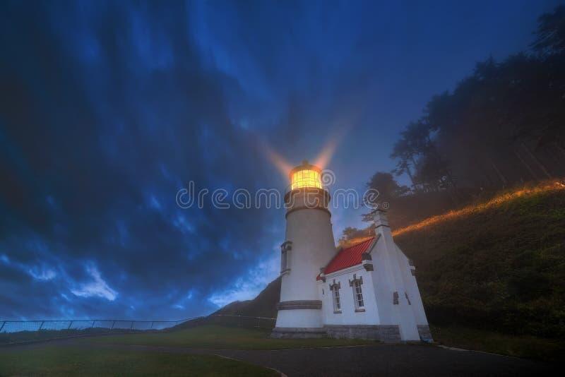 Heceta Head Lighthouse Evening Blue Hour stock image