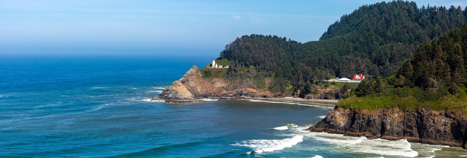 Heceta Head Lighthouse  between Yachats and Florence Oregon on the Pacific Ocean in August, panoramic royalty free stock images
