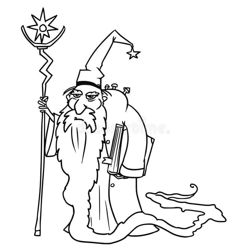 Hechicero medieval del mago de la fantasía del vector de la historieta o consejero real stock de ilustración