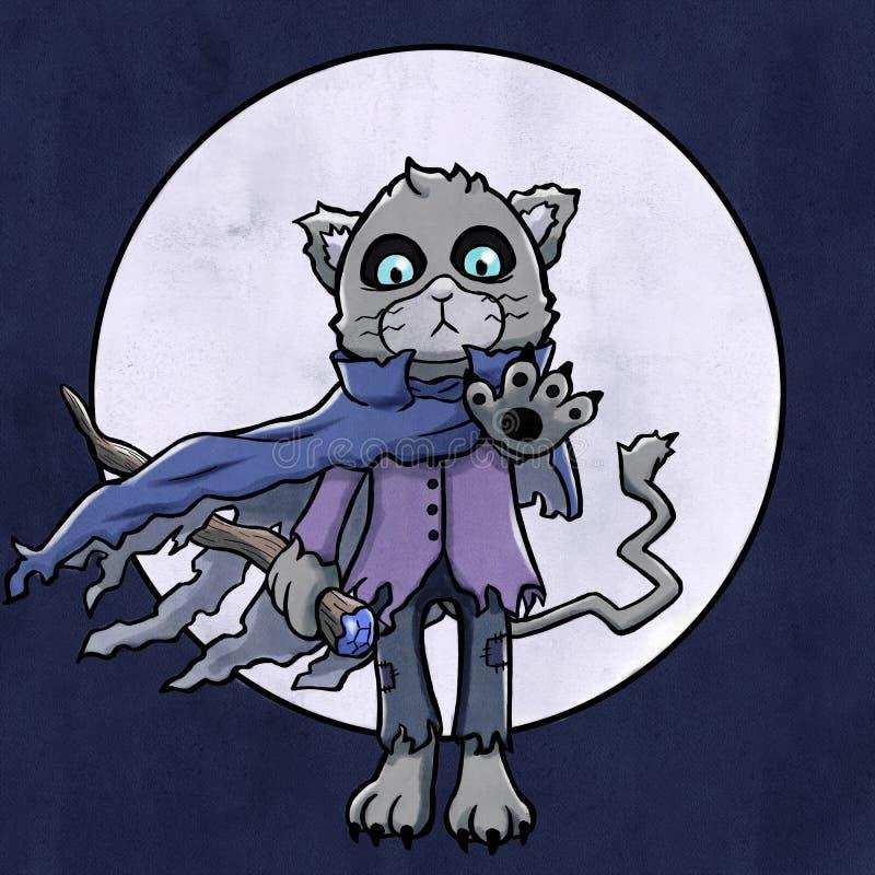 Hechicero siniestro Cat Floating ilustración del vector