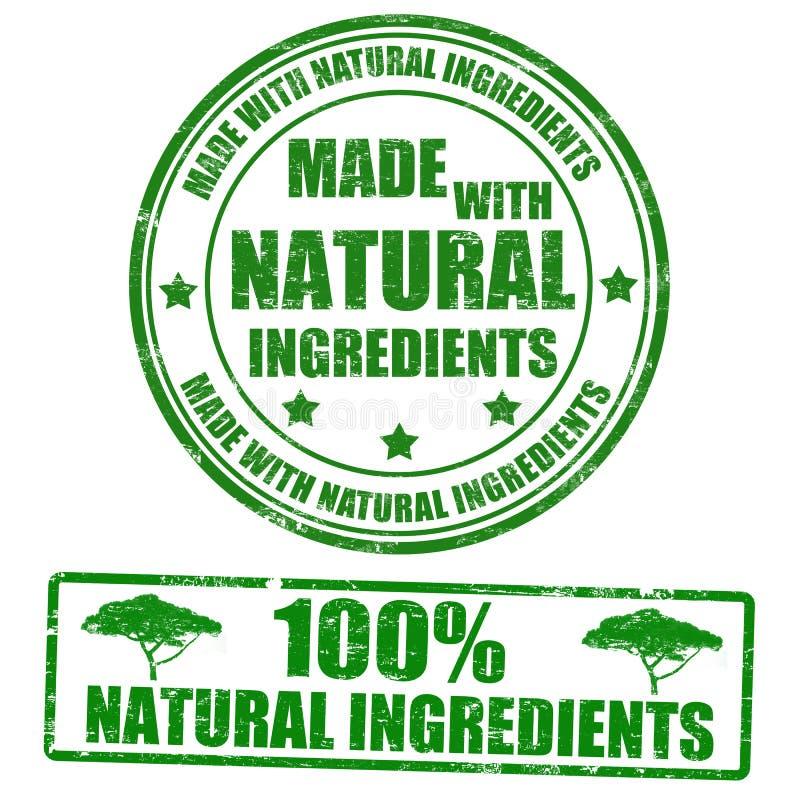 Hecho con los sellos naturales de los ingredientes ilustración del vector