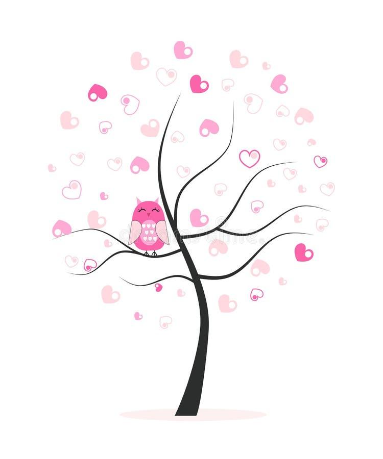 Hecho de árbol de los corazones con el fondo del vector del búho stock de ilustración