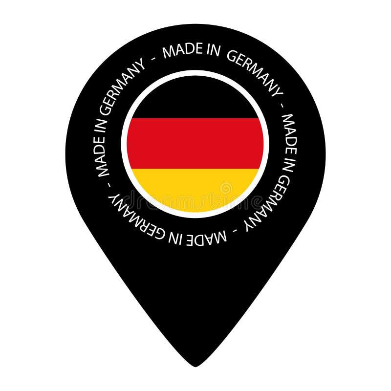 Hecho en Alemania - bandera del indicador del mapa - ejemplo del vector - aislado en blanco ilustración del vector