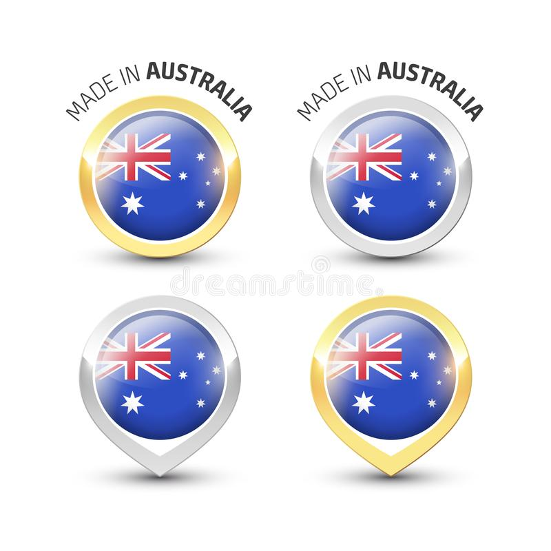 Hecho en Australia - etiquetas redondas con las banderas stock de ilustración