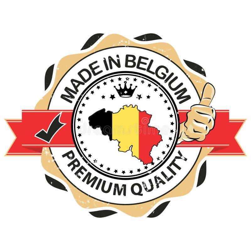 Hecho en Bélgica, sello superior de la calidad stock de ilustración