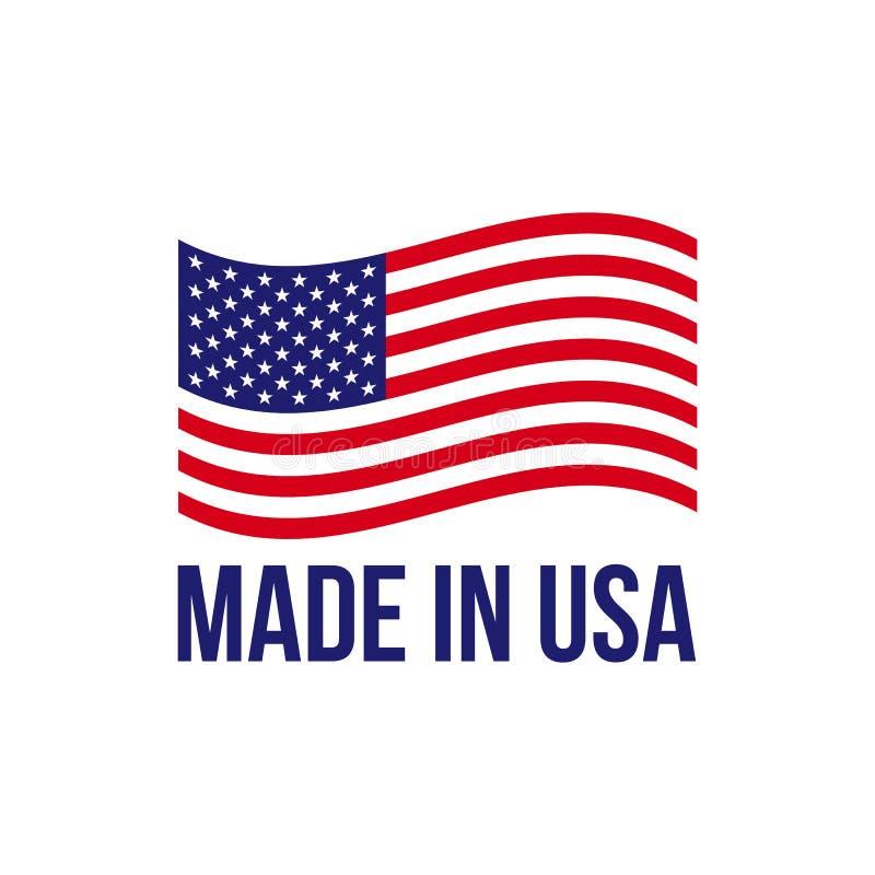 Hecho en bandera americana del vector del icono de los E.E.U.U. ilustración del vector