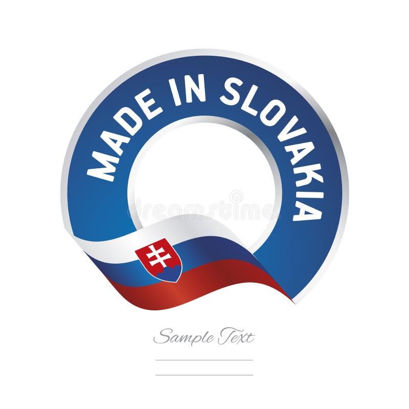 Hecho en bandera azul del botón de la etiqueta del color de la bandera de Eslovaquia ilustración del vector