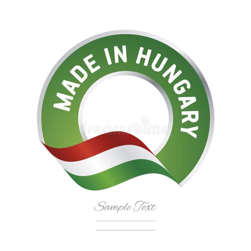 Hecho en bandera del botón de la etiqueta del color rojo de la bandera de Hungría ilustración del vector