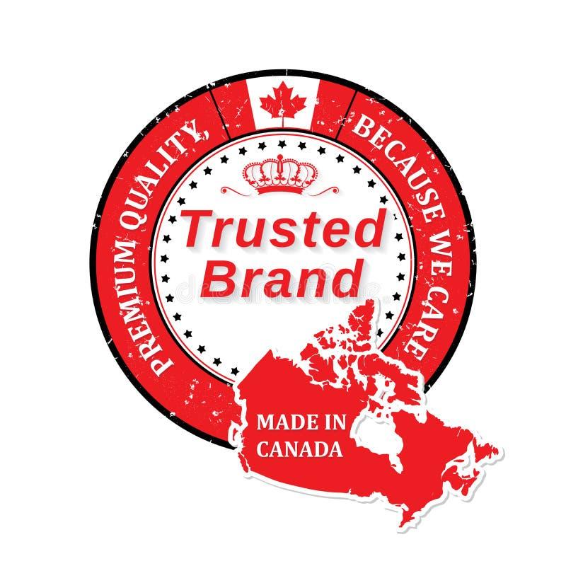 Hecho en Canadá, calidad superior, etiqueta engomada de confianza de la marca para la impresión stock de ilustración