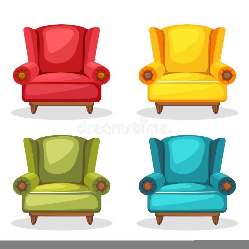 Hecho en casa suavemente colorido de la butaca, sistema 2 imagen de archivo libre de regalías