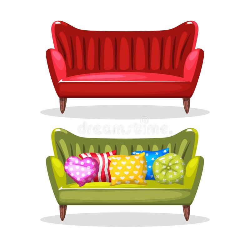 Hecho en casa suavemente colorido del sofá, sistema 6 fotografía de archivo libre de regalías