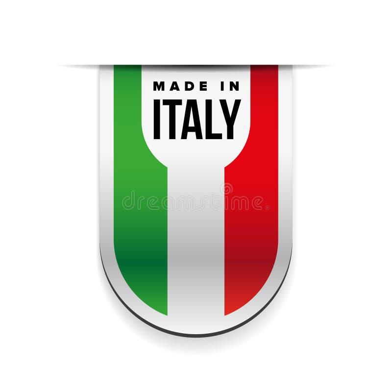 Hecho en cinta de la bandera de Italia stock de ilustración