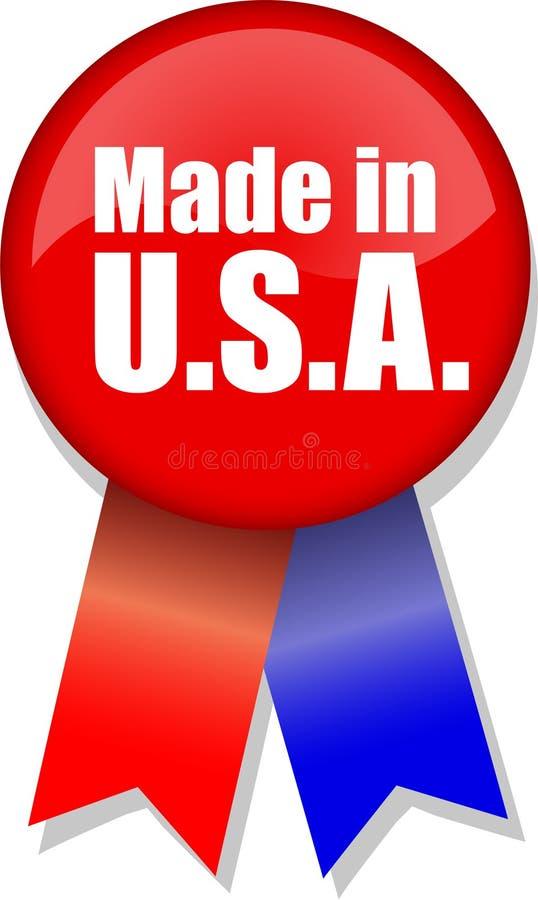 Hecho en cinta del botón de los E.E.U.U. stock de ilustración