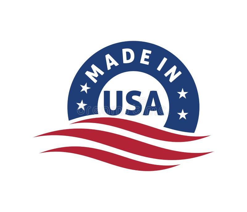 hecho en diseño del logotipo de América stock de ilustración