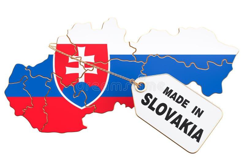 Hecho en el concepto de Eslovaquia, representación 3D ilustración del vector