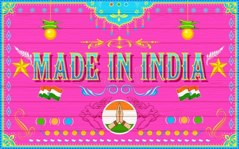 Hecho en el fondo de la India ilustración del vector