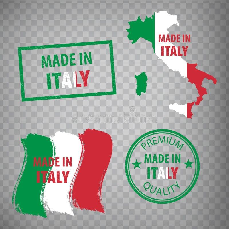 Hecho en el icono de los sellos de goma de Italia aislado en fondo transparente Fabricado o producido en república italiana libre illustration