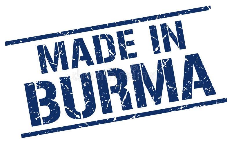 hecho en el sello de Birmania ilustración del vector