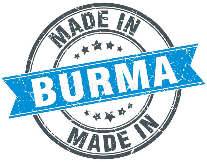 hecho en el sello de Birmania stock de ilustración