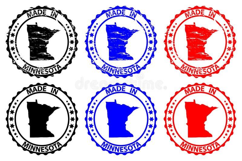 Hecho en el sello de goma de Minnesota ilustración del vector