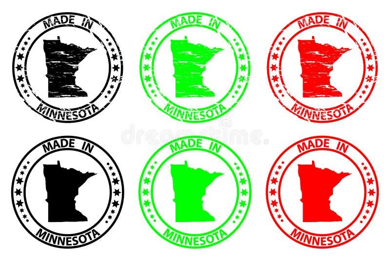 Hecho en el sello de goma de Minnesota stock de ilustración