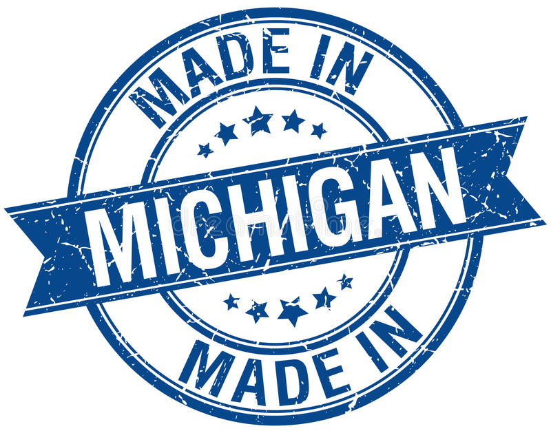 Hecho en el sello redondo azul de Michigan libre illustration