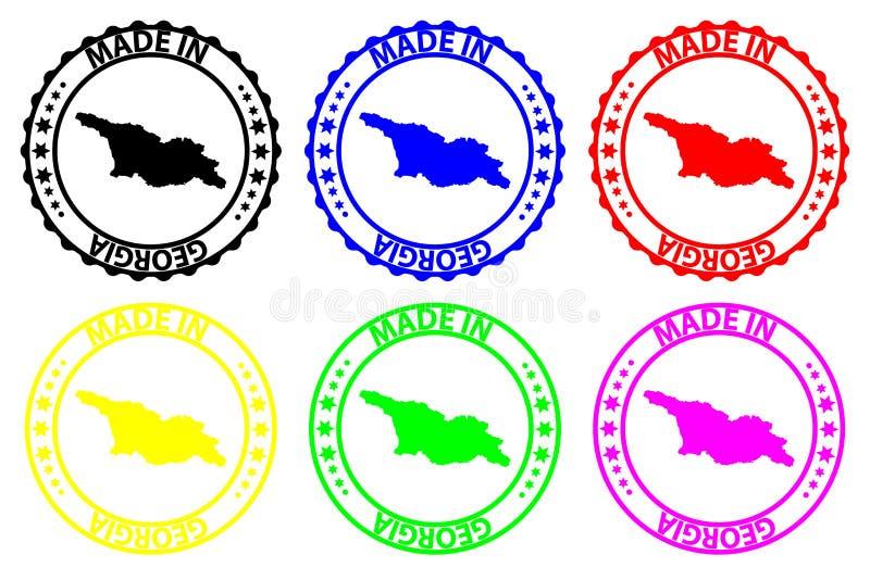 Hecho en Georgia - sello de goma - vector, stock de ilustración
