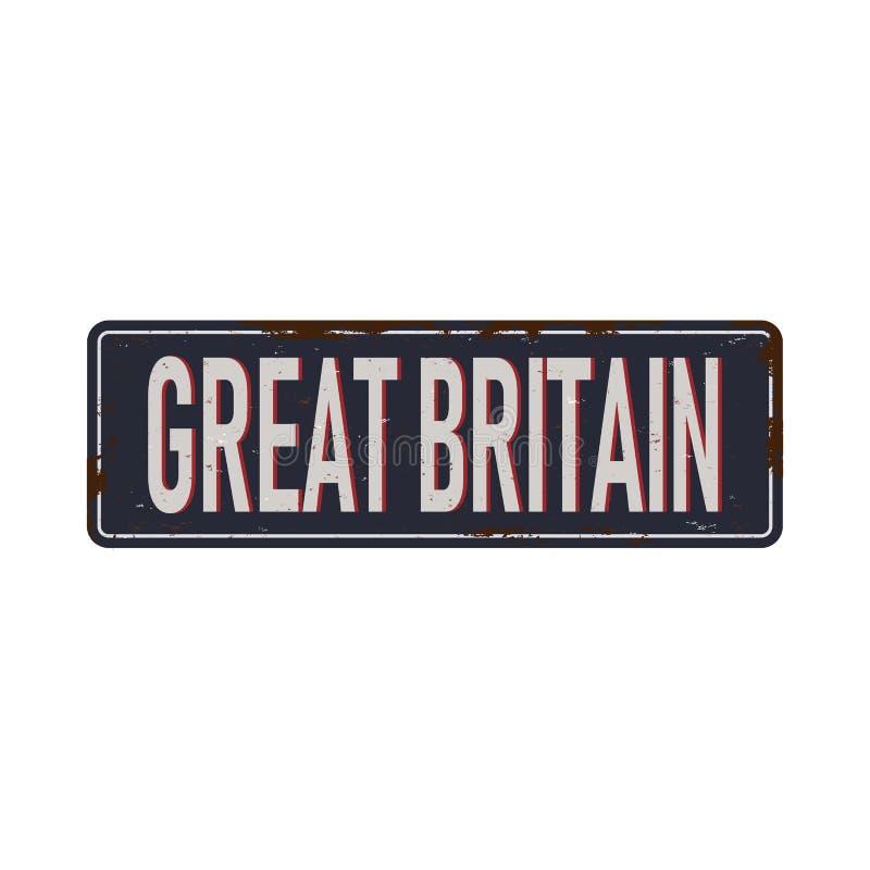 Hecho en Gran Bretaña, viejo y oxidado símbolo de esmalte stock de ilustración