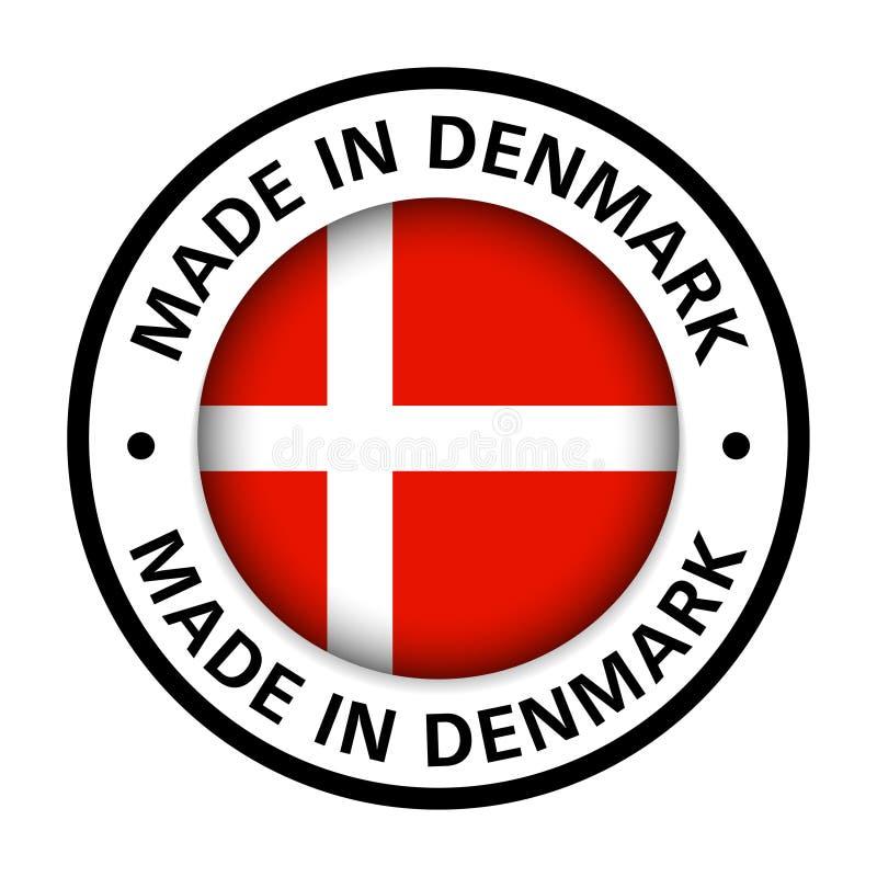 Hecho en icono de la bandera de Dinamarca ilustración del vector