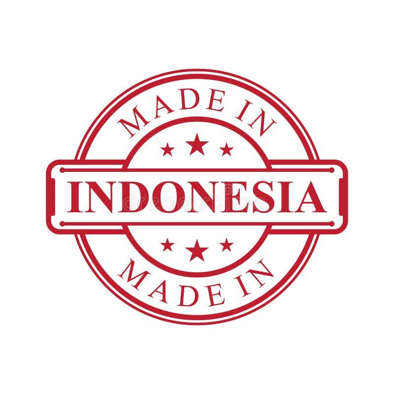 Hecho en icono de la etiqueta de Indonesia con el emblema del color rojo en el fondo blanco stock de ilustración