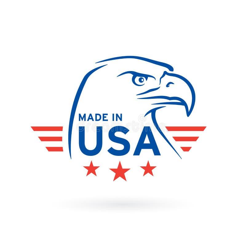 Hecho en icono de los E.E.U.U. con el emblema de American Eagle Ilustración del vector stock de ilustración