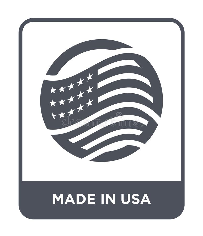hecho en icono de los E.E.U.U. en estilo de moda del diseño hecho en el icono de los E.E.U.U. aislado en el fondo blanco hecho en libre illustration