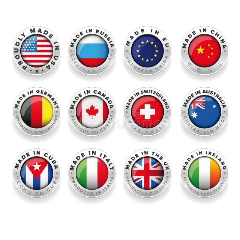 Hecho en iconos del país libre illustration