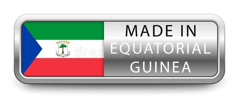 HECHO EN insignia metálica de la GUINEA ECUATORIAL con la bandera nacional aislada en el fondo blanco stock de ilustración