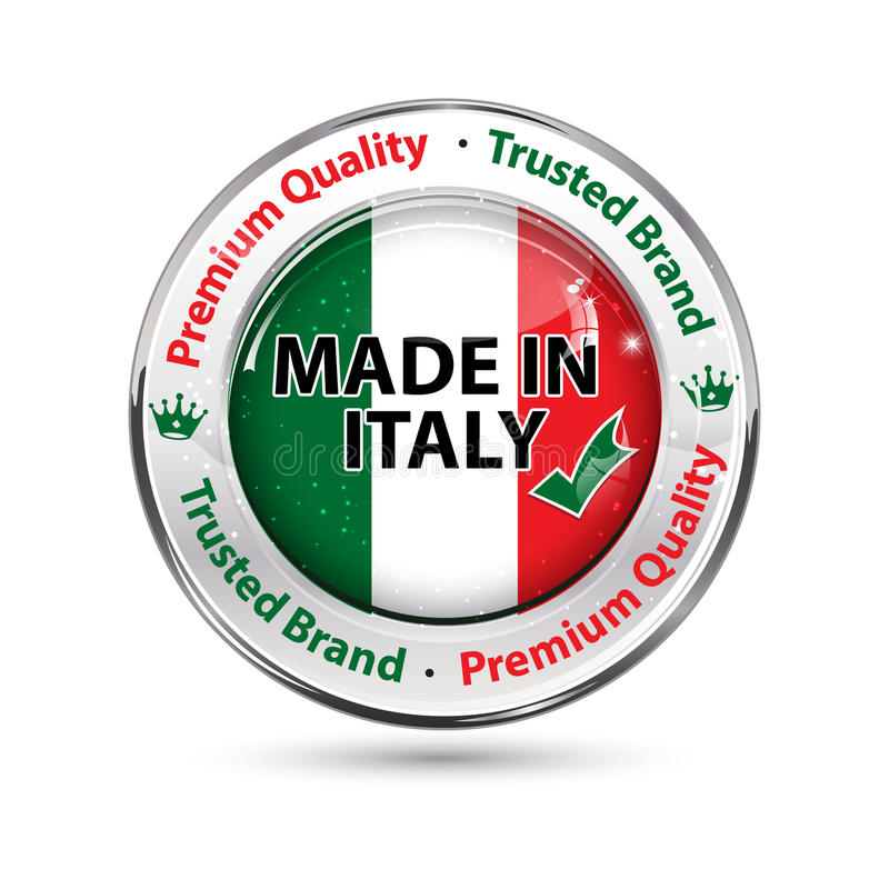 Hecho en Italia, botón de la calidad superior/etiqueta elegantes stock de ilustración