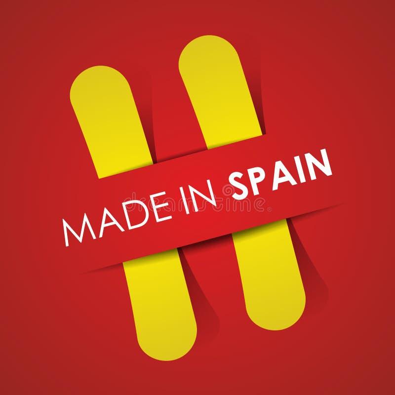 Hecho en la bandera de España stock de ilustración