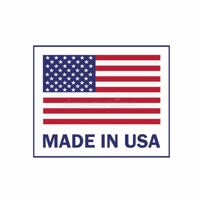 Hecho en la etiqueta de los E.E.U.U. con la bandera americana Icono patriótico americano libre illustration
