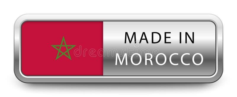 HECHO EN la insignia metálica de MARRUECOS con la bandera nacional aislada en el fondo blanco stock de ilustración