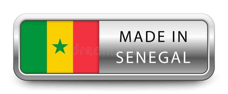 HECHO EN la insignia metálica de SENEGAL con la bandera nacional aislada en el fondo blanco libre illustration