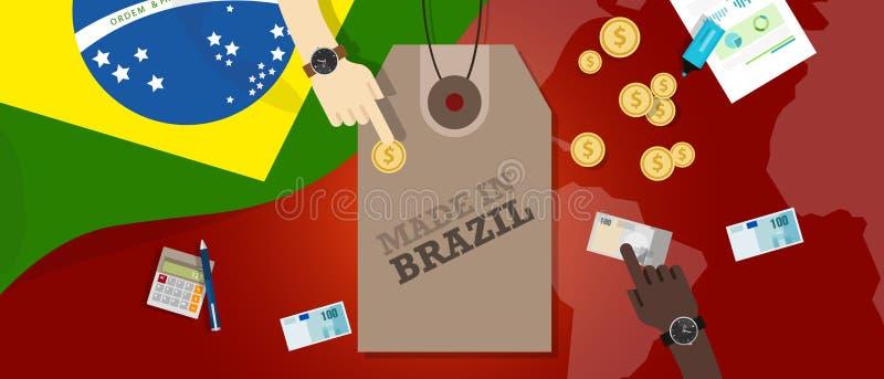 Hecho en la transacción comercial patriótica de la exportación de la insignia del ejemplo del precio del Brasil ilustración del vector