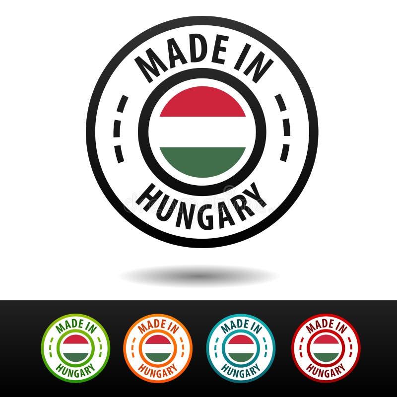 Hecho en las insignias de Hungría con la bandera Vector plano Eps10 ilustración del vector
