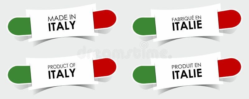 Hecho en las insignias de Italia ilustración del vector