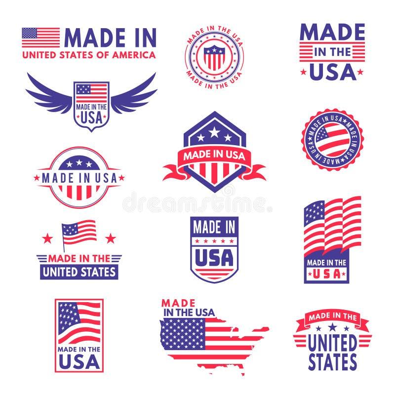 Hecho en los E La bandera hizo América calidad de la insignia del producto de las banderas de los estados americanos etiqueta eng ilustración del vector