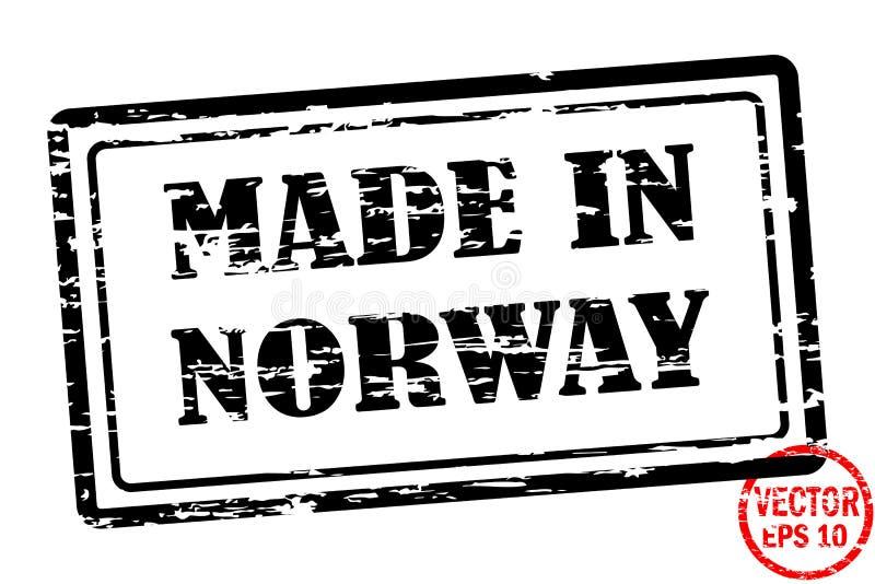 Hecho en Noruega - plantilla del sello grunged de la casilla negra para el negocio aislado en el fondo blanco libre illustration