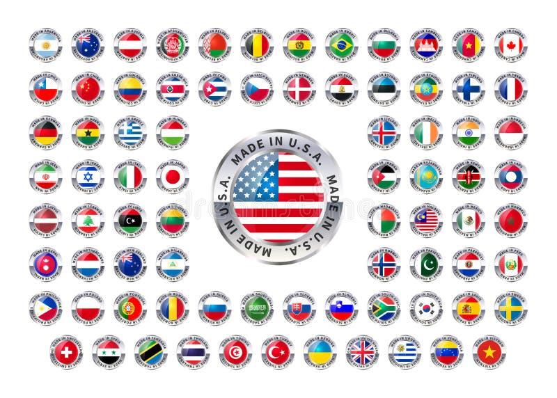 Hecho en país extranjero, iconos brillantes en blanco stock de ilustración