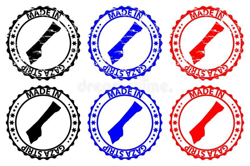 Hecho en sello de goma de la Franja de Gaza  ilustración del vector